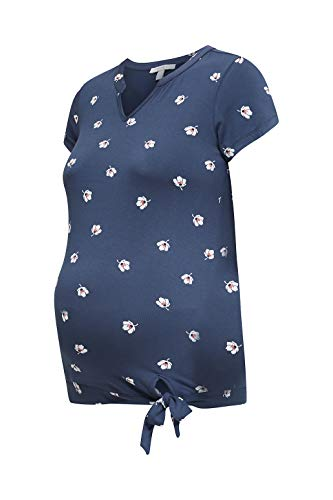 ESPRIT Maternity Damen ss AOP Umstands-T-Shirt, Mehrfarbig (Gunmetal 015), 34 (Herstellergröße: XS)