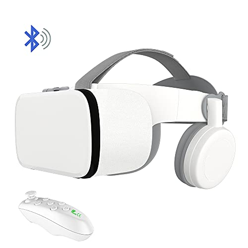 VR Headset for iPhone and Android Phones, 3D Virtual Reality Glasses /Goggles with Wireless Headphones for IMAX Movies & Play Games with Remote Controller.
