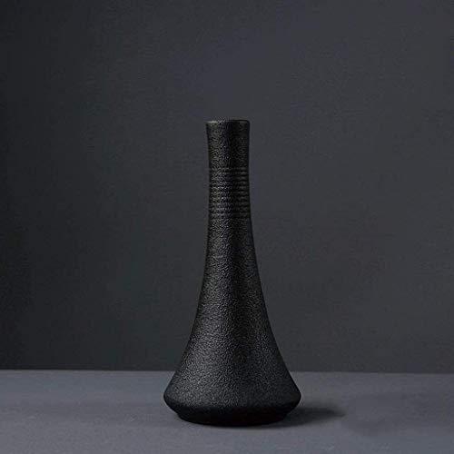 Florero Jarrón Buen Papel Decorativo Boca Ceramic Design Regalos de cumpleaños Boda Robusta Vacaciones Botella Cuerpo Cerámico Jarrón (Color : Black, Size : 7.2×16cm)
