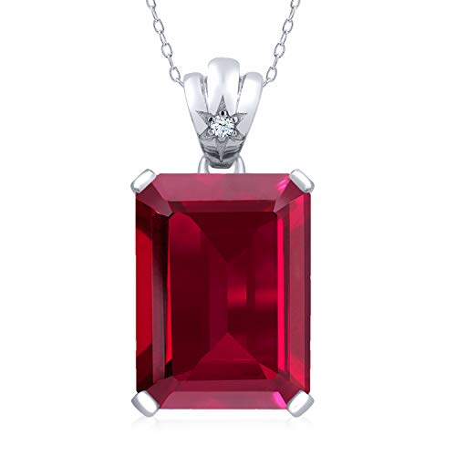 Gem Stone King 925 Sterling Silver Red Created Ruby Pendant Necklace 17.05 Ct Emerald Cut with 18 Inch Silver Chain