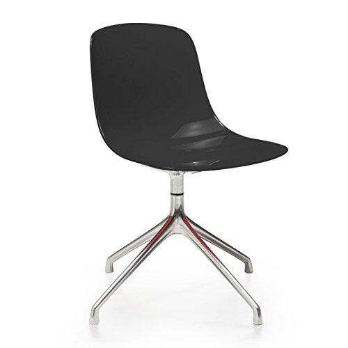Pure-Loop Stuhl mit Sternfuß, schwarz durchgefärbt Gestell Aluminium
