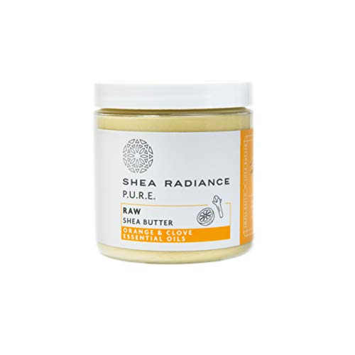 Shea Radiance Raw Shea Butter 100% Natural & Unrefined - Deep Penetrating w/Long Lasting Moisture, Great for Cracked Heels, Deep-Conditioning for Treatment for Hair, All Ages | Orange & Clove (7.5oz)
