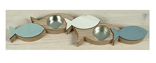 Küstenambiente Teelichthalter *Fische* für Zwei Teelichter 36 x 10 x 2,4cm Kerzenhalter Maritime Tischdeko