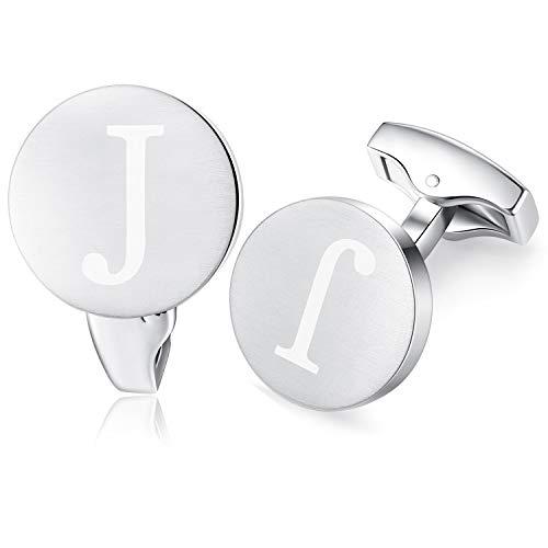 HONEY BEAR Carta Inicial Alfabeto Gemelos - Acero Inoxidable para la Camisa de los Hombres Regalo de Boda del Negocio,plata cepillada (J)