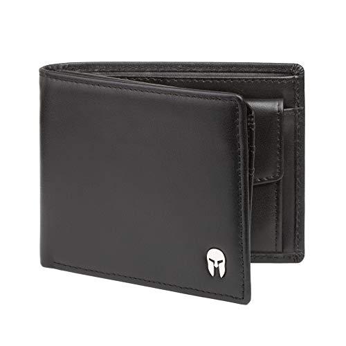 SPARTANO Portafoglio da Uomo in Vera Pelle con Protezione RFID, Portamonete, 7 Tasche per Carte di Credito, 2 x Banconote, 1 x Patente, 3 x Biglietti da Visita - ZEUS