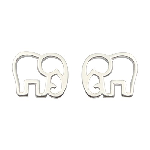ELBLUVF 925 plata de ley elefante de la suerte Animal pendientes