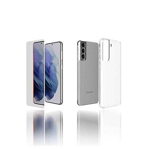 Lumi Cover Samsung S21 più un Vetro Temperato- Custodia in Silicone Trasparente Ultra Sottile- Cover Compatibile con Samsung S21 5g Ultrasottile Anti Urto ed Antigraffio