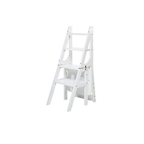 QFF Vier-Stufen-Bambusleiter, Schlafzimmer/Arbeitszimmer Bücherregal Wohnzimmer/Balkon Pflanze Regal Gewächshaus Blumen Rahmen Dual-Use-Stehleitern falten (Color : White, Size : 37 * 46 * 89cm)