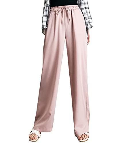 [スカイシイ] ウエストリボン 薄手 リラックス 涼しい ストレート ロングパンツ パンツ ズボン ロング ワイド ワイドパンツ ガウチョパンツ 無地 韓国 韓国ファッション シンプル 軽量 おしゃれ ながそで 可愛い かわいい 部屋着 ガウチョ きれいめ ゴムウエスト 夏 ベーシック キレイめ 春物 長ズボン お洒落 普段着 大人 カジュアル ボトムス むじ お出かけ 着回し リボン ピンク M