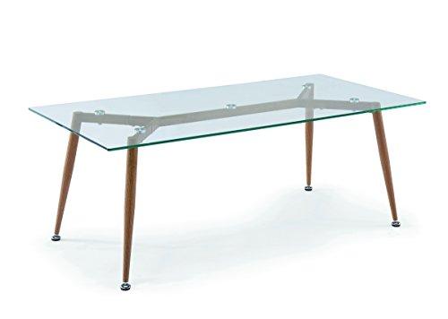 Mobilier Deco - Tavolino in vetro scandinavo con gambe in metallo, effetto legno