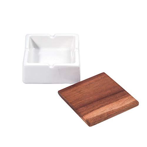 Cenicero Cenicero de cerámica con tapa de tapa al aire libre Mesa de café Oficina Decoración de escritorio Geométrico Cenicero de madera Tapa de madera Cenicero Cenicero para Cigarrillos ( Size : B )