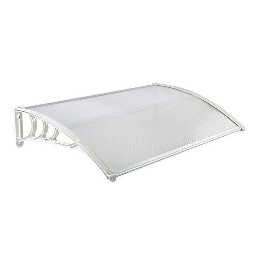 MCTECH 150 x 90 cm Marquesina Toldo para terrazas Tejadillo de protección para puertas y ventanas, Blanco