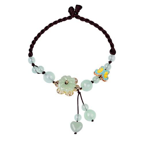 PAYNAN Pulsera ajustable de flor de jade verde natural pulsera tobillera amuleto de la suerte de las mujeres