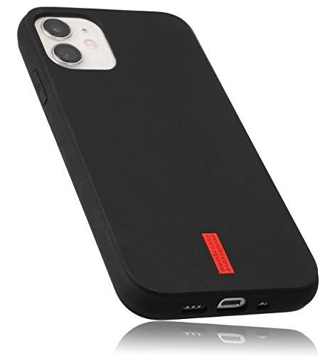 mumbi Hülle kompatibel mit iPhone 12 Mini Handy Hülle Handyhülle, schwarz mit rotem Streifen