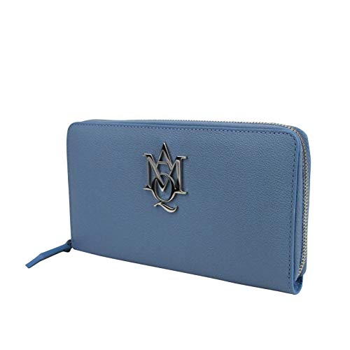 Alexander McQueen Gold Logo Blue Leather Zip Around Wallet 439194 4005