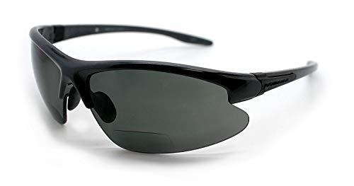 Renegade Patented Bifocal Polarized Reader Half Rim Men's Fishing Sunglasses 100% UV Protection with Microfiber Bag (Matellic Frame, Grey Lens - 600901, Bifocal +1.50)
