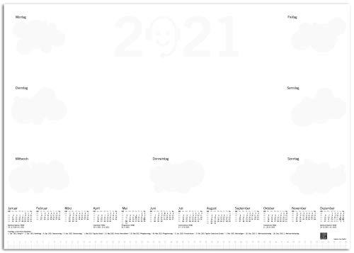 BATI ORIGIN Protector de escritorio de papel, DIN A2, con calendario 2021, 50 hojas, diseño nube, climáticamente neutro.