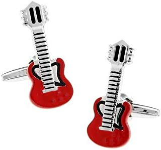 Men Jewelry Baked Enamel Guitar Cufflinks with Gift Box