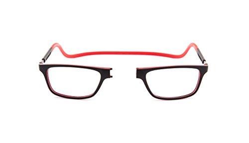 SPORTS WORLD VISIONs magnetische Lesebrille im Slastic Clic-Stil (schwarz und rot) Jabba 006 Starke und langlebige Unisex-Brillen mit weichem Gehäuse, Antireflexlinsen und verstellbaren Seiten, 2,00