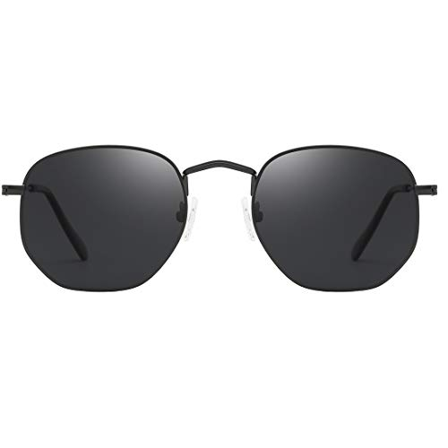 LKEYE Small Square Polarized Sunglasses Polygon Geometric Lens LK1708C2 Black/Gray Polarized Lens