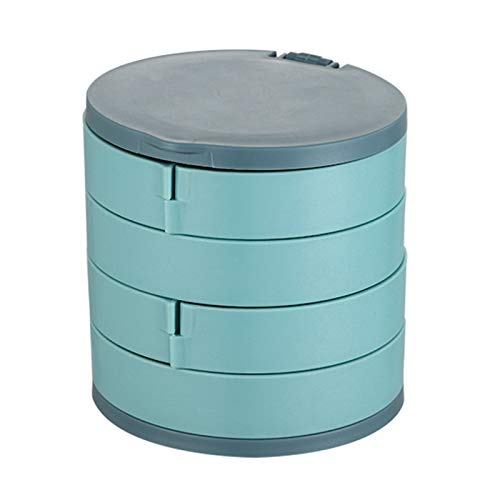 Jewelry Box, 360° Rotating Multi Layer Jewelry Box Dust Proof And Non Slip Storage Box for Rings Bracelets Earrings Necklaces, 10 * 10 * 10 CM (L*W*H),Blue