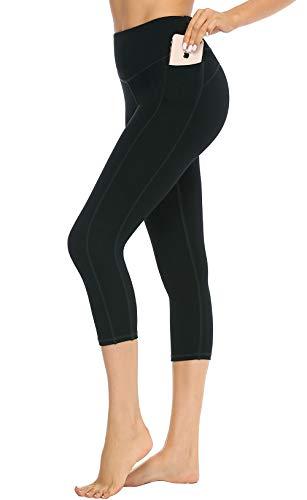JOYSPELS Damen Sporthose 3/4, Capri Leggings Sport Leggins, Schwarz, 36 (Herstellergröße: M)