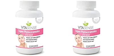 DOUBLE PACK (Pack of 2) VitaSense Super Phytoceramides 350mg MAX - Skin Restoring, Anti-Ageing, Skin, Hair & Nails Ceramides with Vitamin Complex - 30 Capsules