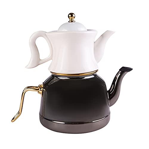Karaca Retro Emaille Porzellan Teekanne Set Schwarz, Tee, Tea maker, Cay, Caydanlik, Turkischer Teekocher, Wasserkocher, Tea Pot Set Caydanlik Takimi Teekannen set