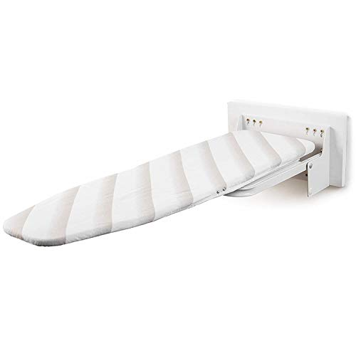 uyoyous Tabla de planchar de pared plegable con altura regulable, ideal para planchas de vapor, tabla de planchar con herrajes - Blanca (A)