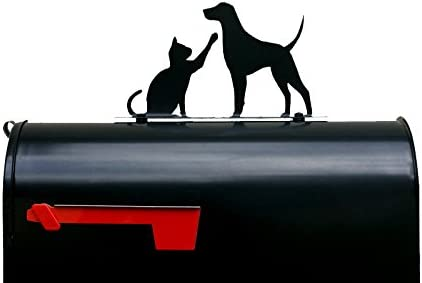 Cat and Dog Playing Mailbox Dedication Great interest Box Mail Topper Sign