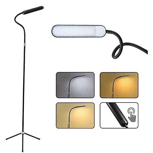 YEXATI 12W Lámpara De Pie Salón LED, Lámpara De Pie Trípode Con Atenuación Continua y 3 Temperaturas De Color, Cuello De Cisne Ajustable Para Dormitorio, Sala De Estar, Oficina
