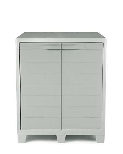 Ondis24 Kunststoffschrank Madera XL Grau in Holz Optik Beistellschrank abschließbar