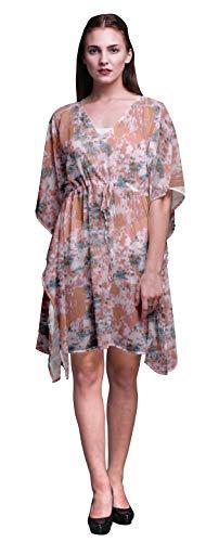 Bimba Light Peach4 Tie-Dye Light Beach Kaftan Bikini Cover up Womens Midi Dress Short Caftan-4X-5X