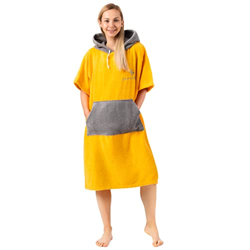ZENACROSS Poncho de Surf con Capucha y Bolsillo para Adultos L/XL Amarillo - Cambio de Ropa - Deportes acuáticos - Natación 🔥