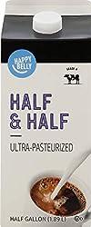 Amazon Brand - Happy Belly Half & Half, Ultra-Pasteurized, Kosher, Half Gallon, 64 fl oz