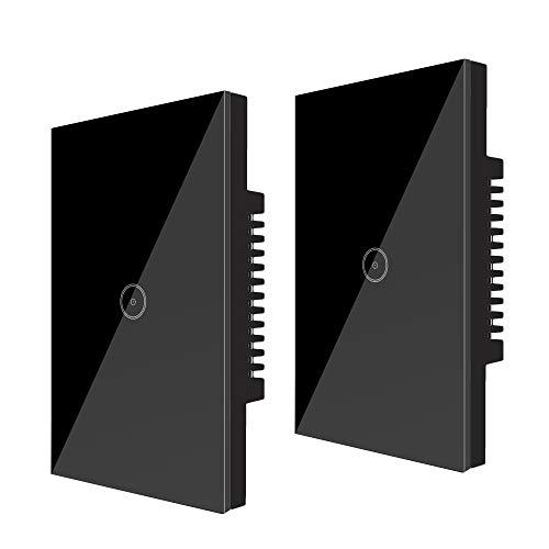 UseeLink Interruttore Della Luce Intelligente WiFi, con Touch Screen in Vetro Temperato, 1 Gang, Funziona con Alexa/Google Home, Telecomando, Timer, Conduttore Neutro Richiesto, Nero (2 PCS)