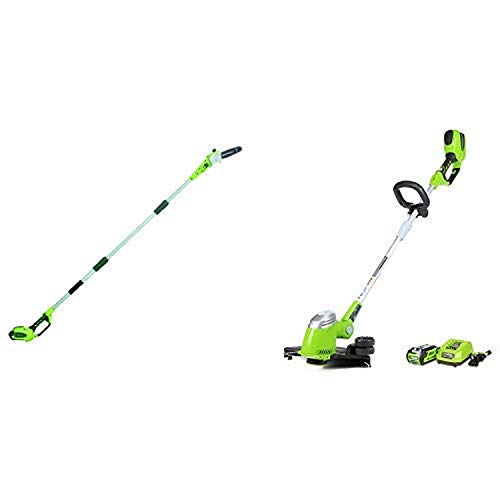 Greenworks 8.5' 40V Cordless Pole Saw, 2.0 AH Battery Included 20672 with 13-Inch 40V Cordless String Trimmer, 2.0 AH Battery Included 21302