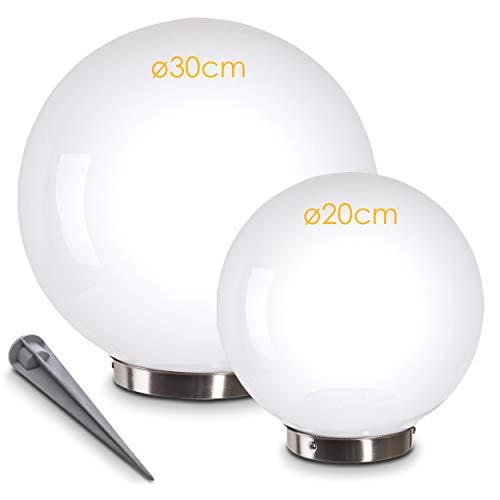 Sfere Luminose da Giardino Energia Solare- Illuminazione LED per Esterni con Pannello Solare e Sensore Crepuscolare Integrato- Lampade da Terra Interruttore On/Off Luce Bianco Freddo