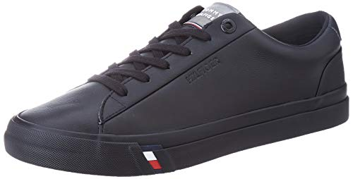 Tommy Hilfiger Herren Corporate Leather Sneaker, Schwarz (Black Bds), 44 EU