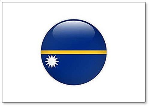 Kühlschrankmagnet, Motiv Nauru-Flagge auf Knopf, klassisch