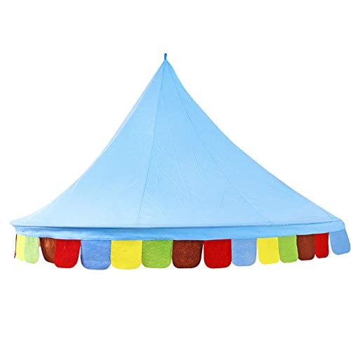 GuoCu Toldo de cama para niños con mosquitera,Princesa Mosquitera para Cuna Niña,Castillo de bebe Tienda de juego redondo malla cortinas mosquitera dosel tienda BlueL L