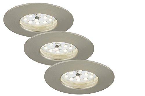 Briloner Leuchten 7204-032 LED Einbauleuchte, LED Strahler, Spots, Lampen Wohnzimmer, led einbaustrahler 230v, 5 Watt, 400 Lumen, Badezimmer geeignet IP44, energiesparend, 3er Set, rund, matt-nickel