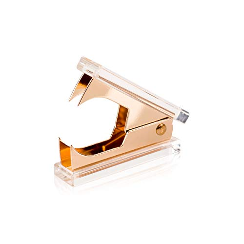 SIRMEDAL Chic Ultra Clear Acrylic and Gold Staple Remover for Office School Home Desk Accessories