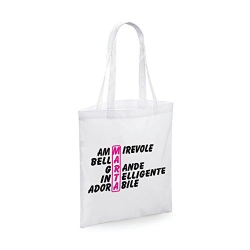 bubbleshirt Shopping Bag Compleanno - Marta e Aggettivi Simpatici - Evento - Idea Regalo - in Cotone Lunghezza del Manico: 40 cm.