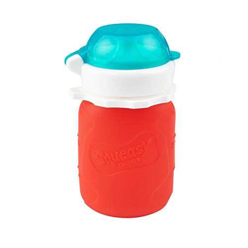 Red 3.5 oz Squeasy Snacker Spill Proof Silicone Reusable Food Pouch - for Both Soft Foods and Liquids - Water, Apple Sauce, Yogurt, Smoothies, Baby Food - Dishwasher Safe