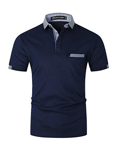 GHYUGR Elegante Polos Manga Corta Hombre Camisetas de Costura Clásica Algodón Golf Comercial Tshirts para la Oficina,Azul 1,XL