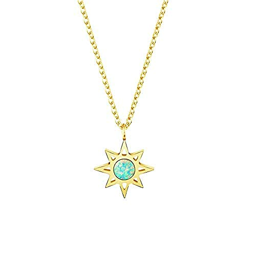 Aluyouqi Co.,ltd Necklace Shiny Natural Stone Opal Star Necklaces Pendant Green Color Body Star of David Jewish Collar Necklace