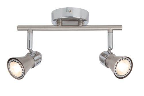 Brilliant Sanny LED Spotrohr, 2-flammig, 2x LED GU10 5W inklusiv, eisen/chrom G15413/77