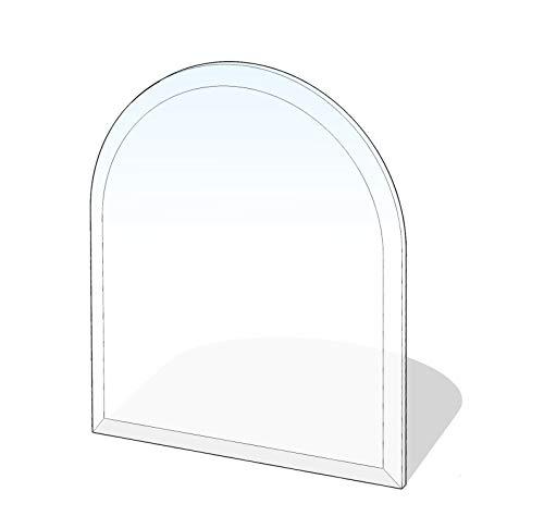 Kamin Glasplatte 8 mm 'Zunge 5' mit Facette - 800 x 800 x 8 mm Glasbodenplatte Rundbogen ESG bis 700 kg belastbar