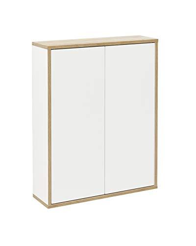 FACKELMANN Doppel-Hängeschrank Finn/Badschrank mit Push-to-Open/Maße (B x H x T): ca. 60 x 75 x 20,5 cm/Schrank fürs Bad mit 2 Türen/Korpus: Weiß/Front: Weiß/Rahmendekor: Braun hell